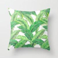 banana leaf Throw Pillows featuring Banana for banana leaf by Indulgencedecor