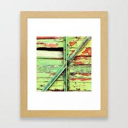 Green, rustic shed detail Framed Art Print