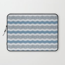 Wavy River in Blue and Gray 1 Laptop Sleeve