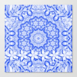 abstract blue mandala with flowers Canvas Print