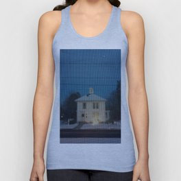 White house w/first snow & creche Unisex Tank Top