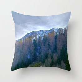 snow and mountain landscape in winter Throw Pillow