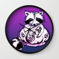 rocket raccoon Wall Clocks featuring What's raccoon? by Kasia Zajczyk