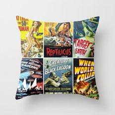 Vintage Sci-Fi Movie Poster Collage Throw Pillow