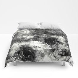 Deja Vu - Black and white, textured painting Comforters