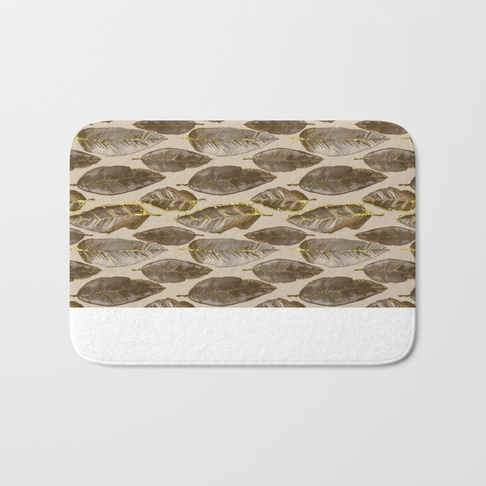 Gold Feather Pattern brown beige Bath Mat