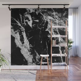 Dark marble black white stone1 Wall Mural