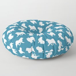 Samoyed Pattern (Blue Background) Floor Pillow