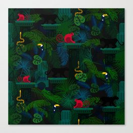 Animals in the jungle on the ruins Canvas Print