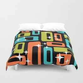 Retro Mid Century Modern Abstract Pattern 222 Orange Chartreuse Turquoise Duvet Cover