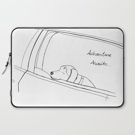 Beagle looking out the car window drawing Laptop Sleeve