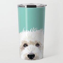 Golden Doodle pet portrait art print and dog gifts Travel Mug