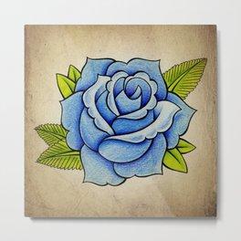Blue Rose - Tattoo Artwork Metal Print