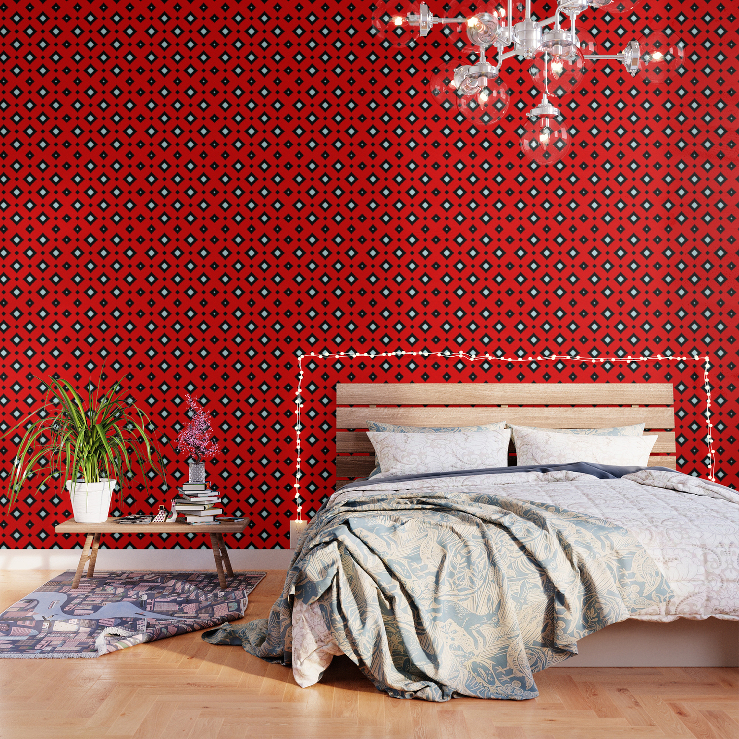 Red And Black White Diamond Texture Pattern Wallpaper By