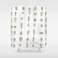 robots Shower Curtains featuring robots by Julia Heffernan