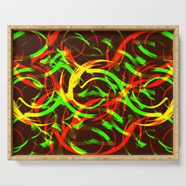 Background of fire circles. Fireballs and spheres with color overlay. Serving Tray
