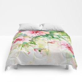 Cascading Flowers -Landscape- Watercolors Comforters