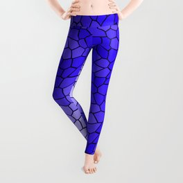 Stained glass texture of snake blue leather with bright heat spots. Leggings