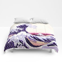 The Great wave purple fuchsia Comforters