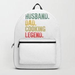 Funny Men Vintage T Shirt Husband Dad Cooking Legend Retro Backpack