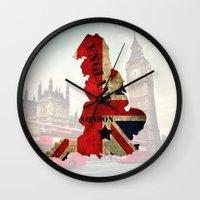 england Wall Clocks featuring ENGLAND by mark ashkenazi