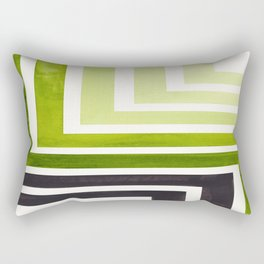 Sap Green Mid Century Modern Watercolor Colorful Ancient Aztec Art Pattern Minimalist Geometric Patt Rectangular Pillow