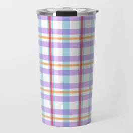 Gridlines of purple, blue and red on white Travel Mug