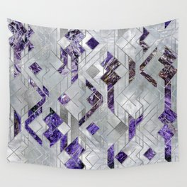 Abstract Geometric Amethyst and Mother of pearl Wall Tapestry