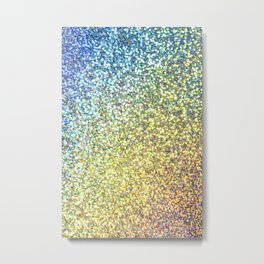 Turquoise & Gold Glitter Ombre Metal Print