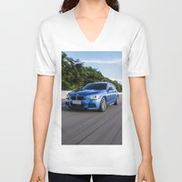 bmw V-neck T-shirts featuring BMW M135i by Nenhum Destes
