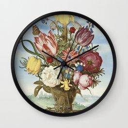 Ambrosius Bosschaert the Elder - Bouquet of flowers on a ledge (1619-1620) Wall Clock