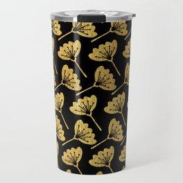 Black & Gold Florals Travel Mug
