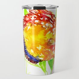 Discus in Aquarium. yellow red green fish illustration Travel Mug