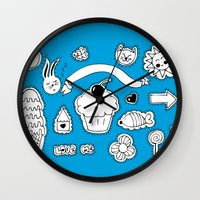 sticker Wall Clocks featuring Sticker World by Duru Eksioglu