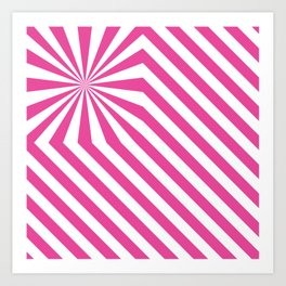 Stripes explosion - Pink Art Print