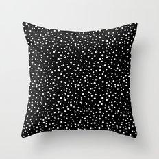 PolkaDots-White on Black Throw Pillow