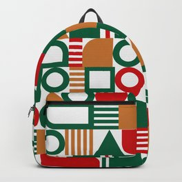 Geometric green red abstract modern Backpack