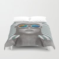 soldier Duvet Covers featuring Space Soldier by Serra Kiziltas