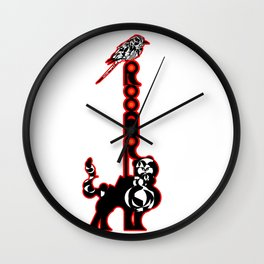 """Companions in Roar - Logoart with the word """"Rooar"""" placed vertically on a feline's back and a bird o Wall Clock"""