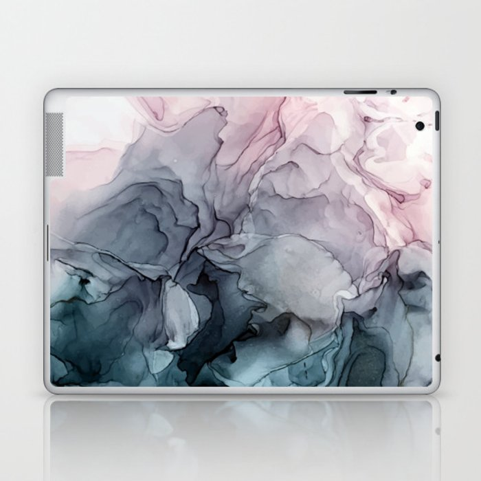 Blush and Payne's Grey Flowing Abstract Painting Laptop & iPad Skin