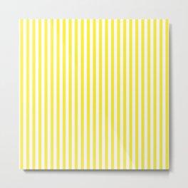 Summer Yellow and White Cabana Stripe Metal Print
