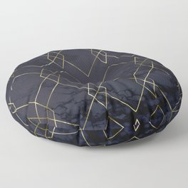 Gold Geometric Modern Pattern Trendy Black Marble Floor Pillow