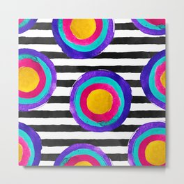 Watercolor stripes and circles Metal Print