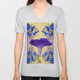 CONTEMPORARY PURPLE-BLUE FLOWERS ON CREAM Unisex V-Neck