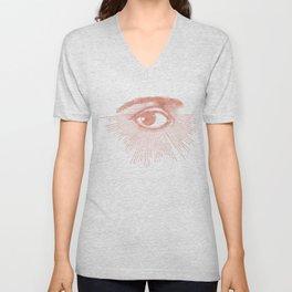 I see you. Rose Gold Pink Quartz on White Unisex V-Neck