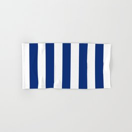 Catalina blue - solid color - white vertical lines pattern Hand & Bath Towel