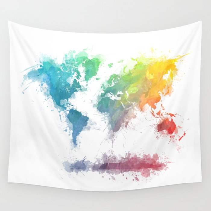 World Map splash 2 Wall Tapestry