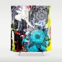 alisa burke Shower Curtains featuring blue flowers by Alisa Burke