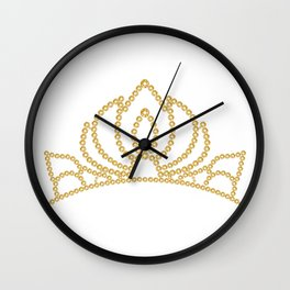 Gold princess crystal crown. Rhinestones diadem.  Wall Clock