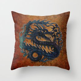 Blue Chinese Dragon on Stone Background Throw Pillow